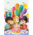 Three kids celebrating a birthday vector image