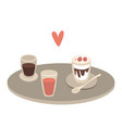 tray with cups with drinks and desserts and heart vector image vector image