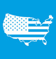 usa map icon white vector image vector image