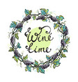 watercolor wreath from grape and leaves vector image
