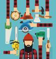 worker and lumberjack design flat vector image