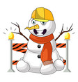 working snowman on white background vector image vector image