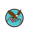 American Eagle Clutching Towing J Hook Flag Drape vector image vector image