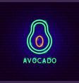 avocado neon label vector image vector image
