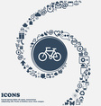 Bicycle icon in the center Around the many vector image