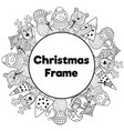 black and white christmas frame in coloring page vector image