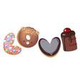 cartoon donut hand drawn word vector image vector image