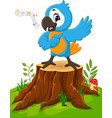 cartoon parrot singing on tree stump vector image vector image