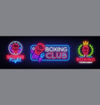 collection boxing neon signs design vector image vector image