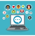 Computer and social network icon set vector image vector image