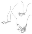 continuous one line drawong set skydivers vector image vector image