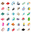 contribution icons set isometric style vector image vector image