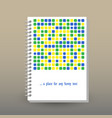 cover of diary blue yellow green squares vector image vector image