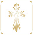 cross with dove church emblem template design vector image