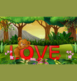 cute funny bear on the red word love on the nature vector image vector image
