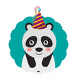 cute panda party hat birthday vector image vector image