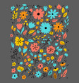 doodle flowers hand drawn floral set flower vector image