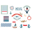 Fish restaurant menu design elements in funny vector image vector image