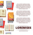 flat colorful books poster design with white vector image vector image