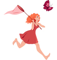 Girl chasing butterfly vector image