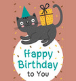 happy birthday card with black cat and gift vector image vector image