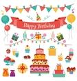 Happy Birthday Flat Design Icons Set vector image vector image