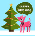 happy new year greetings poster christmas tree dog vector image vector image