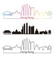 Hong Kong V2 skyline linear style with rainbow vector image vector image
