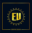 initial ev letter logo template design vector image