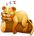 Little lion cup sleeping on the log vector image vector image