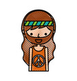 man hippie lifestyle character vector image vector image