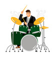 man play on drum musician and instrument vector image vector image