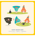 Mix of cute megaphone-speaker-bell cartoon charact vector image vector image