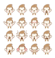 Monkey Emoticons set vector image vector image