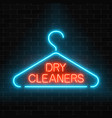 neon dry cleaners glowing sign with hanger on a vector image vector image