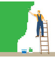 painter standing on staircase paints the wall vector image