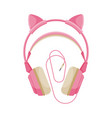 pink childish headphones with cable accessory vector image vector image