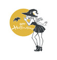 pinup witch and bat halloween and vector image vector image