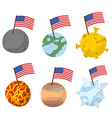 Planets of solar system with flag of America vector image