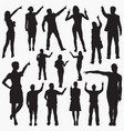 pointing with finger silhouettes vector image vector image