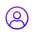 purple user icon in the circle thin line vector image