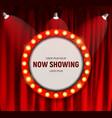 realistic retro cinema now showing announcement vector image vector image