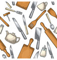 seamless pattern kitchen utensils vintage vector image