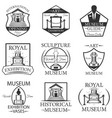 set museum isolated labels logo and vector image