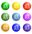 space planet icons set vector image