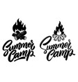 summer camp lettering phrase with campfire vector image vector image