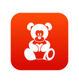 teddy bear holding a heart icon digital red vector image