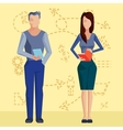 Two business people on the background of dotted vector image