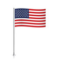 USA flag waving on a metallic pole vector image vector image