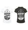 vintage petrol prints on shirts set vector image vector image